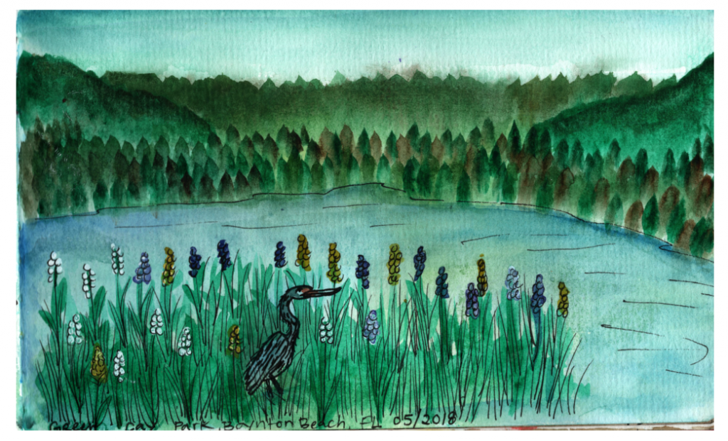 Green Cay Nature Preserve is a natural wetlands park that I visited in 2018 with my mom. I sketched this scene while I was there.